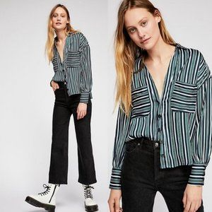 Free People Mad About You Silky Button Down Shirt